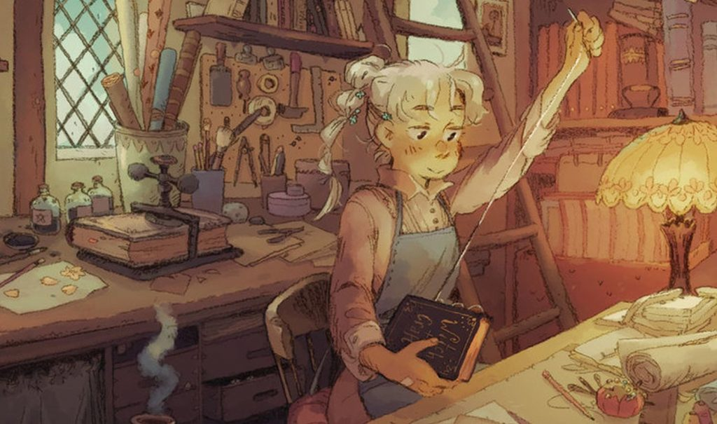 In a dreamy Ghibli-esque style, a white-haired femme with a long braid sows a book that has Witch+Craft on the cover. She appears to be in a workshop. Witch+Craft, Astrologo Press, 2020.