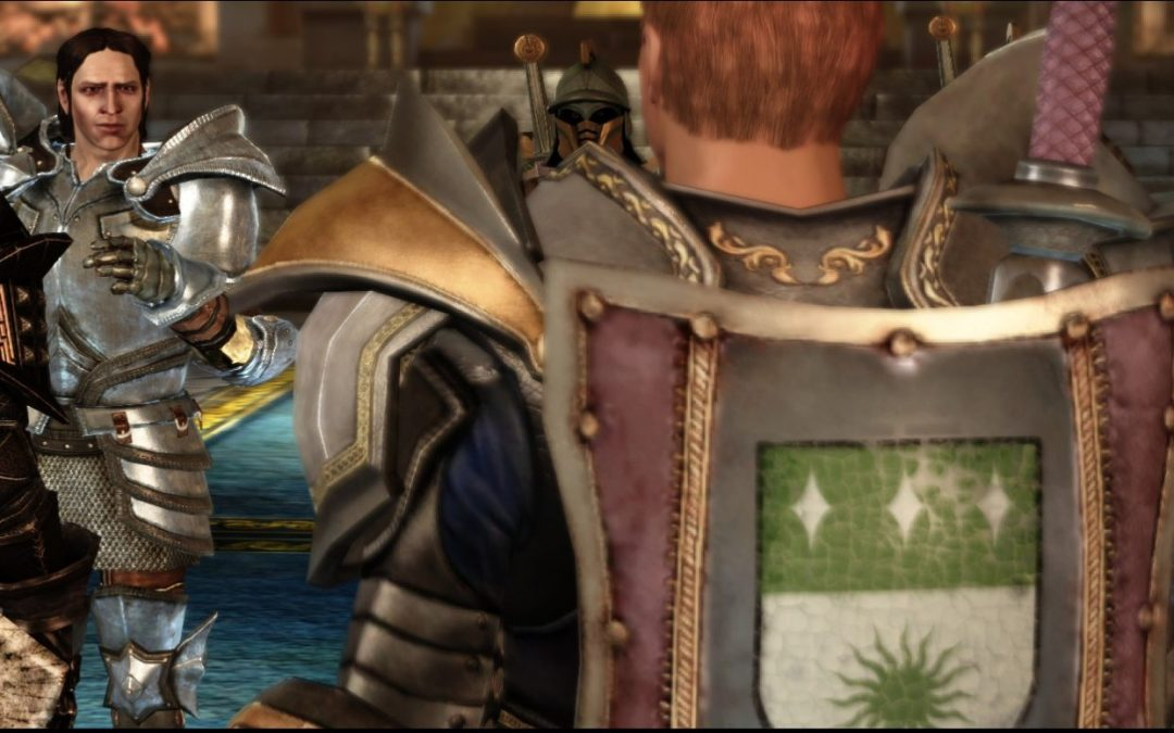 A screenshot of Dragon Age: Origins, showing one character facing another.