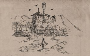 A nib drawing of an indistinct person in a ragged cloak walking toward a mill. There are mountains in the background. The drawing is on richly textured paper. The Quiet Year, Buried Without Ceremony, 2013. Image from https://buriedwithoutceremony.com/the-quiet-year