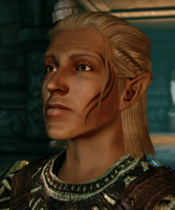 A screenshot of Zevran, an elf with long blond hair and waving tattoo down the left side of his face. Dragon Age: Origins, Bioware, EA, 2009