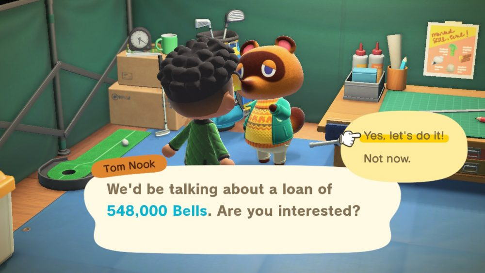 "Tom Nook asks a player if they are interested in a loan of 548,000 bells. The player's cursor highlights ""Yes, let's do it!"""