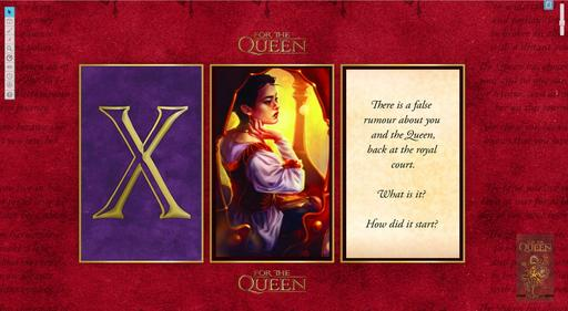 A screenshot of the For the Queen Roll20 module. there are three cards on a rich red background: the X card; a card that is just a drawing of the queen, a delicate woman in warm lighting; and a card that reads: