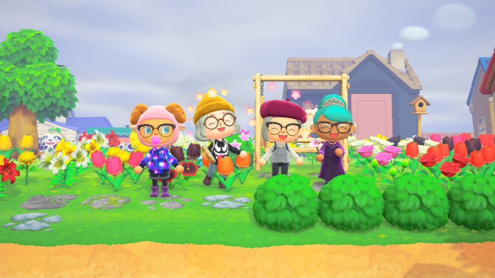 A screenshot of Animal Crossing showing four characters standing next to one another.