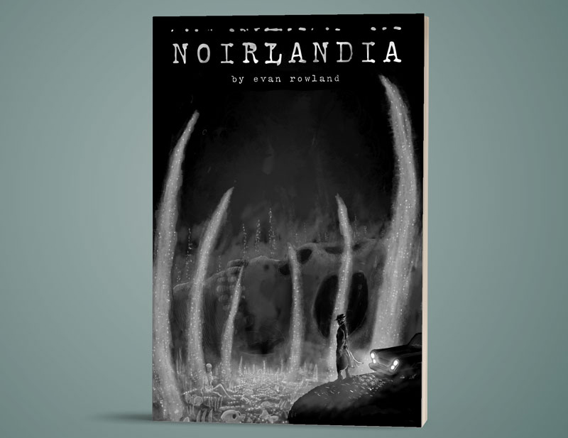 The cover to the Noirlandia rulebook on a green-grey background. a small figure in a trenchcoat and hat stands near their car. The headlights illuminate a valley filled with bones. The cover is rendered in ghostly monochrome. Image from http://makebigthings.com/product/noirlandia/