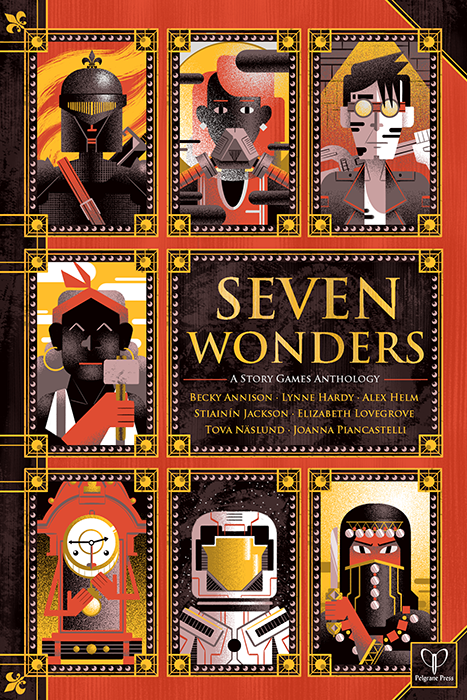 The cover of Seven Wonders. Seven bust portraits are stacked in three rows, with only one portrait in the second row next to the title. The portrait in the middle row is of a person with dark skin holding a hammer and wearing a red bandanna. Seven Wonders, Pelgrane Press, 2015