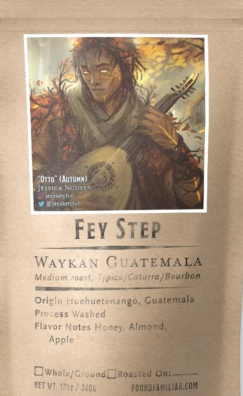"A coffee bag featuring an eladrin elf bard in autumn season. The coffee is called ""Fey Step"" and is a medium roast from Huehuetenango, Guatemala."