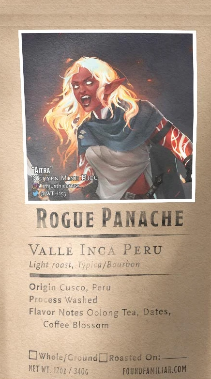 "A bag of coffee featuring a red-skinned elf with glowing hair. The coffee is called ""Rogue Panache"" and is a light roast hailing from Cusco, Peru."