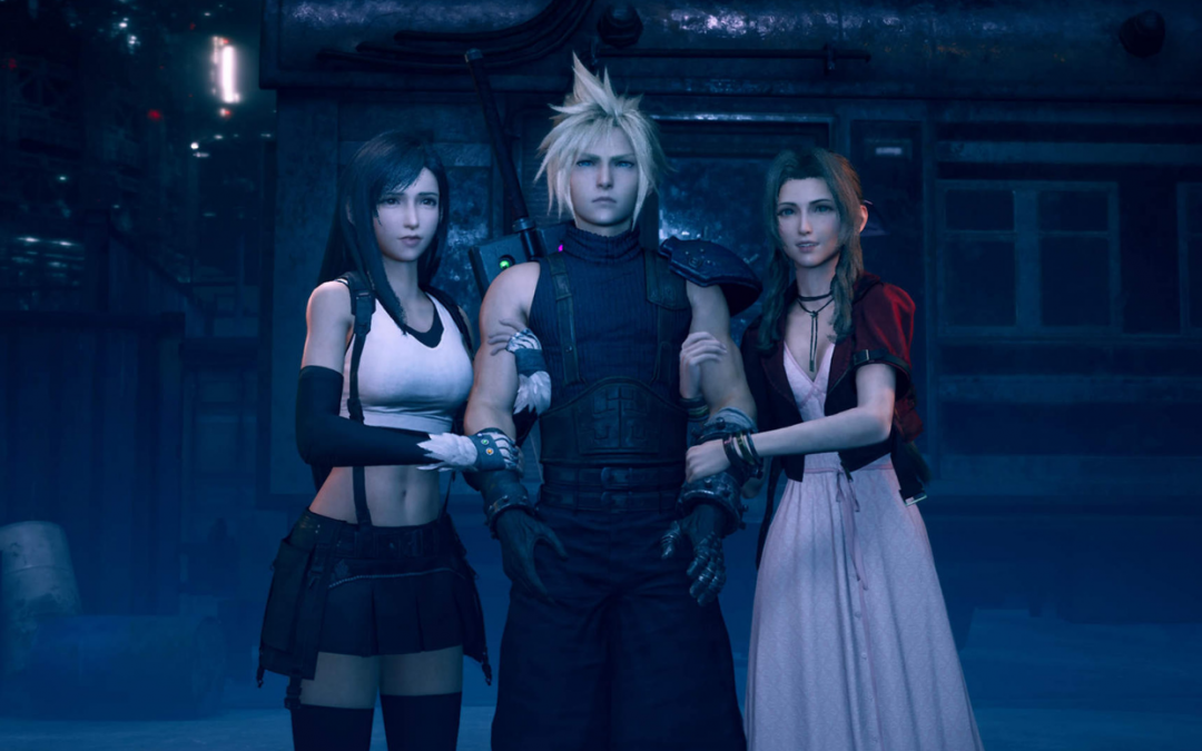 Cloud stands between Aerith and Tifa, both of whom are clutching his arms. Final Fantasy VII Remake, Square Enix, 2020.