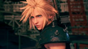 A close up of cloud, a massive sword on his back, as he looks into the distance. Final Fantasy VII Remake, Square Enix, 2020.