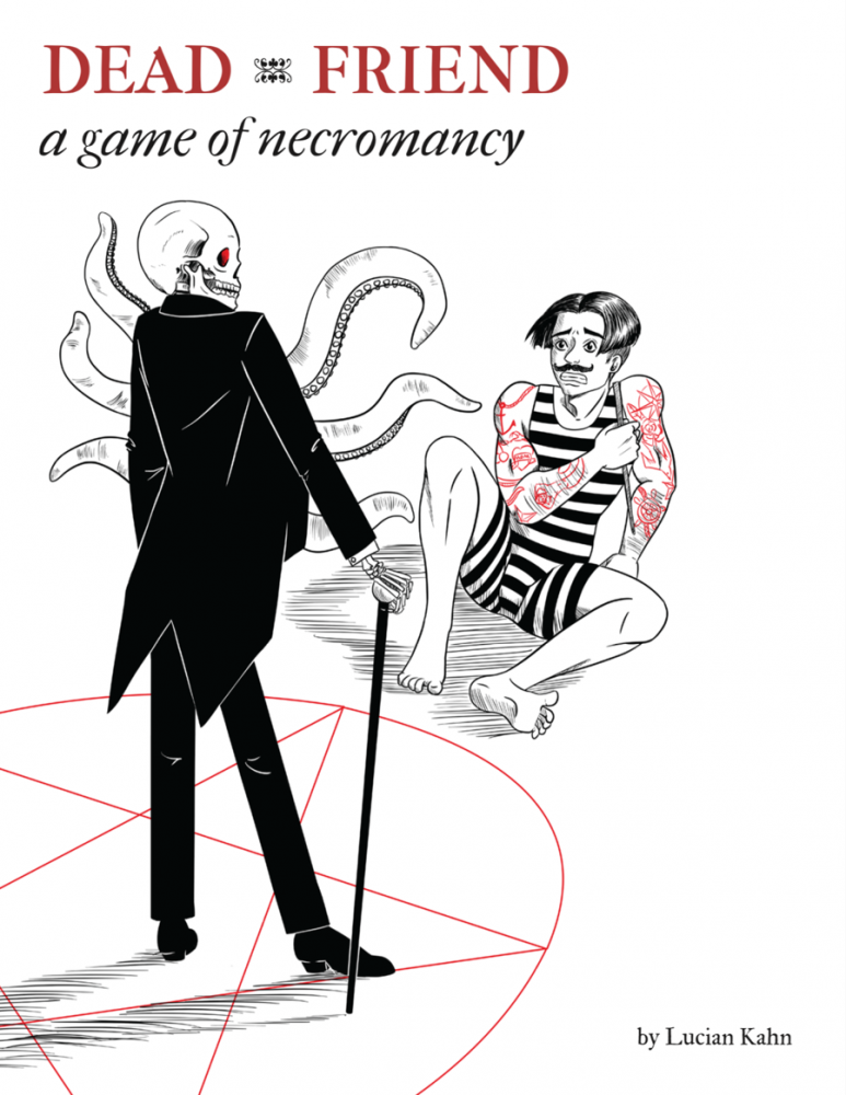 The cover to Dead Friend, showing a black-suited skeleton with tentacles standing in the center of a pentagram, while a quivering person in a striped outfit sits outside, covering themselves. Dead Friend: A Game of Necromancy, Lucian Kahn, 2018.