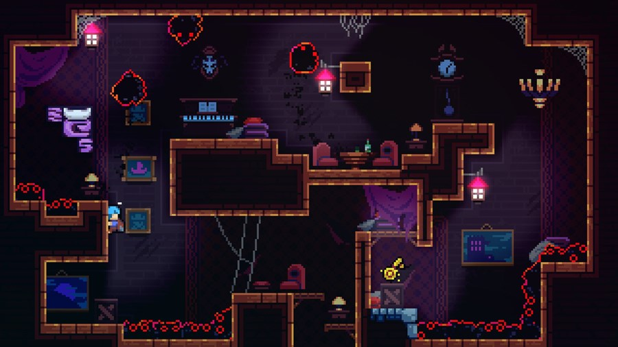 An eerie platformer level with black ghost-like blobs with red eyes, a few armchairs and tables, a piano, and pictures on the wall. Basically looks like a creepy parlor. Celeste, Matt Makes Games, 2018.