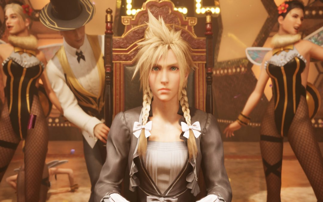 Cloud wears an extravagant, grey gown and sits on a throne-like chair. Around him are performers dressed in tuxedos with yellow trim and dancers in bee costumes. Final Fantasy VII Remake, Square Enix, 2020.