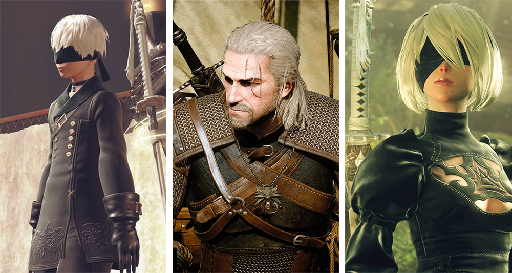 A triptych of 9S, Geralt, and 2B. All have white hair, light skin, and are bristling with weapons. Nier: Automata, Platinum Games, Square Enix, 2017; and The Witcher 3: Wild Hunt, CD Projekt, 2015.
