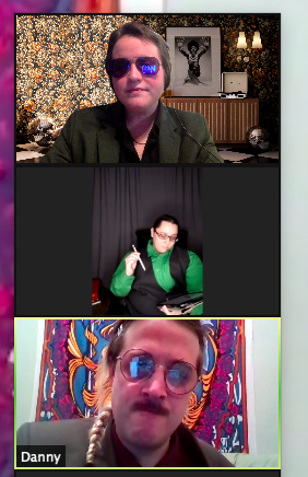 Three people in a zoom conference call. Each is dressed like a sleazy businessperson.