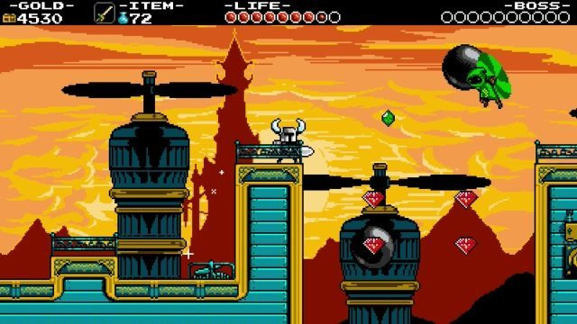 A screenshot from Shovel Knight where Shovel Knight stands on a blue deck of some kind, facing off against a flying green creature. The background is of a castle, and it looks like they're on some kind of airship. Shovel Knight, Yacht Club Games, 2014.