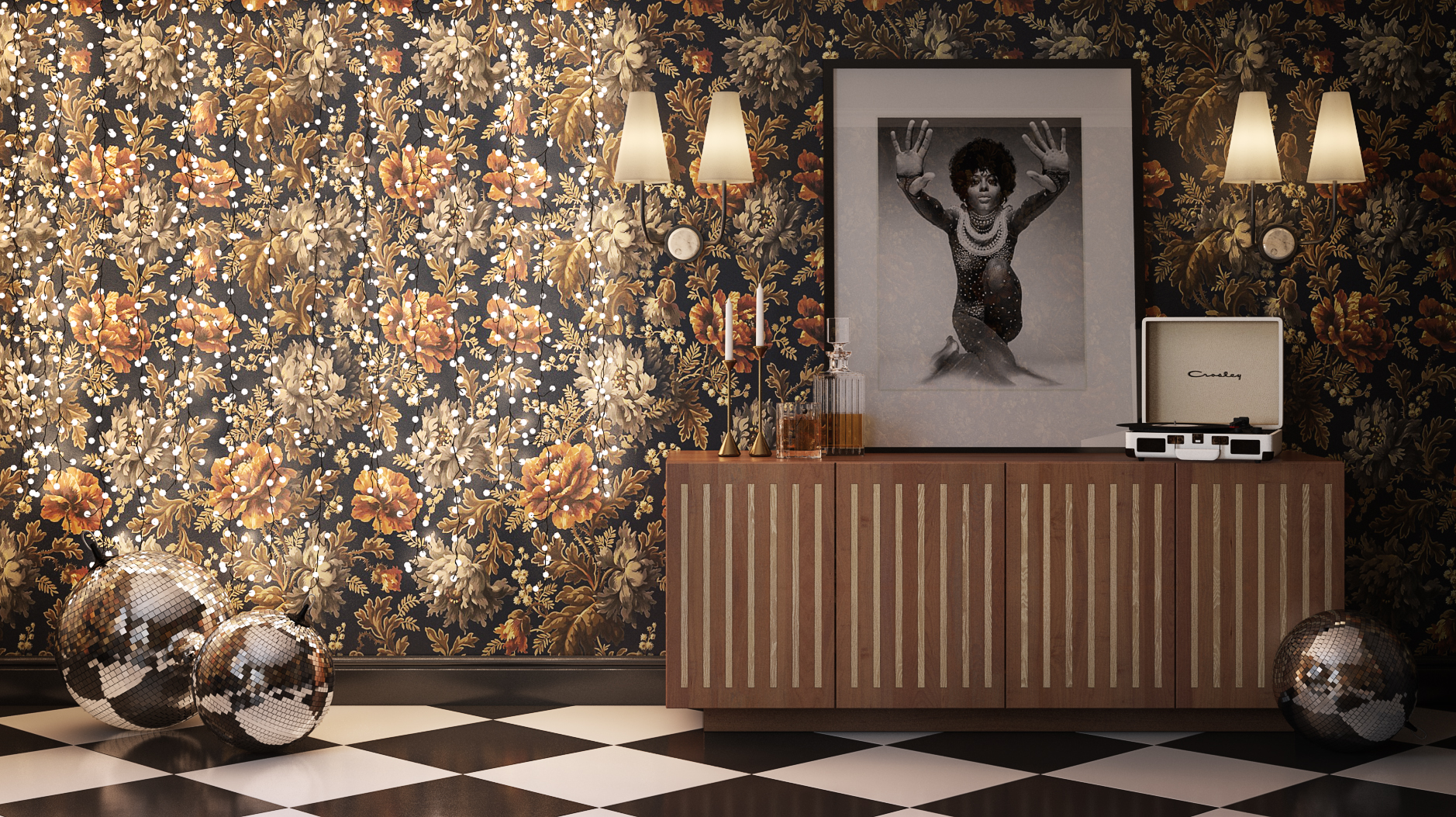 The interior of a fancy room with floral wallpaper, checkered floors, disco balls and a liquor cabinet. Provided by Lucid Immersive for its virtual LARP, The Board.