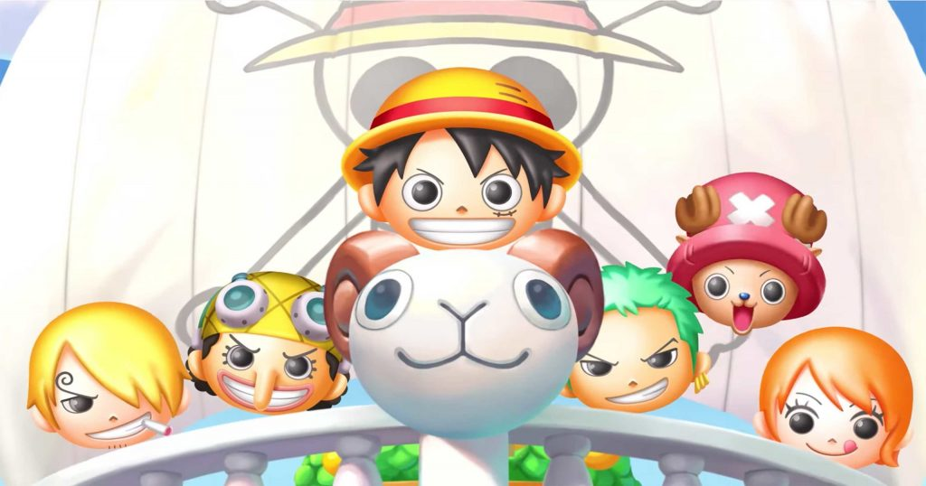 The heads of Luffy and other One Piece characters I don't know are shaped as cute smirking balls. The Luffy head sits on top of what appears to be a cartoon ram. ONE PIECE Bon! Bon! Journey!!, Bandai Namco, 2020.