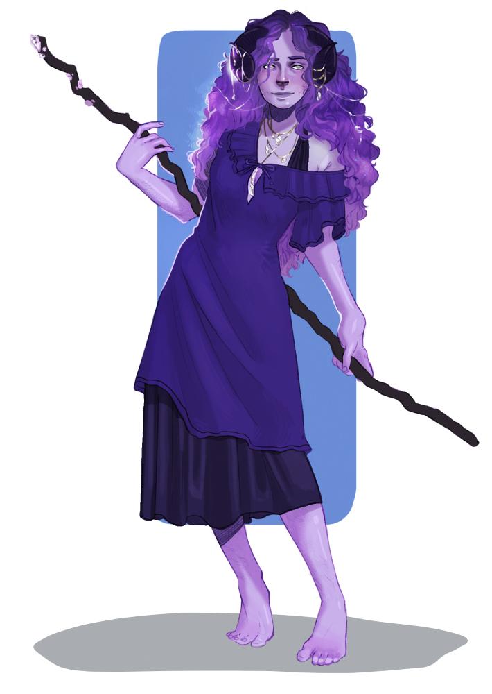 Alkyone is a purple tiefling druid, with dark purple hair, purple dress, and dark curling horns. Art by Rowan Caskey. https://twitter.com/dungeonwives/status/1200499086136360960