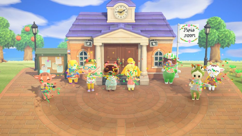 The author's player-character, Pipis, stands in front of the newly-opened community center on their island, Pipis Room. Anabelle the peppy anteater villager stands next to them, along with Tom Nook, Isabelle, and four other villagers. Animal Crossing: New Horizons, Nintendo, 2020.