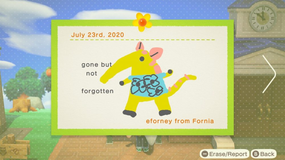 "A post written on the bulletin board that depicts a drawing of Anabelle with the caption ""gone but not forgotten"" by eforney from Fornia. Animal Crossing: New Horizons, Nintendo, 2020."