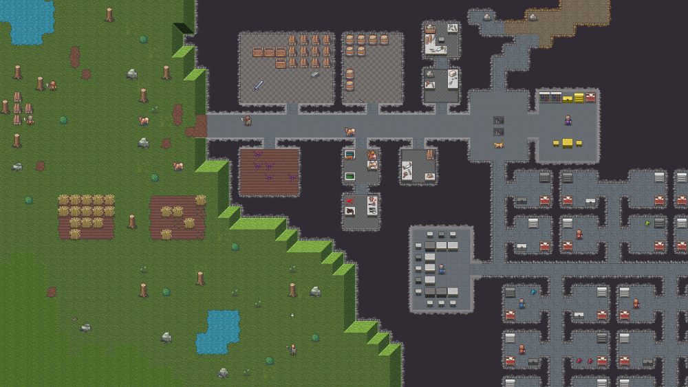 A stylized portrayal of a series of interconnecting rooms below the surface. Several Dwarven characters are in the rooms. Chopped trees and fields of hay are above. Dwarf Fortress, Bay 12 Games, 2006.