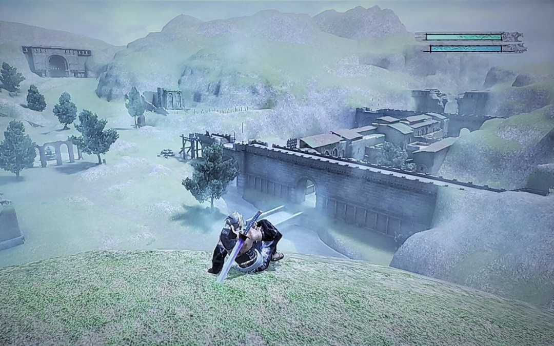 Nier sits and overlooks a desolate, pastel-covered landscape, a weird sword on his back.