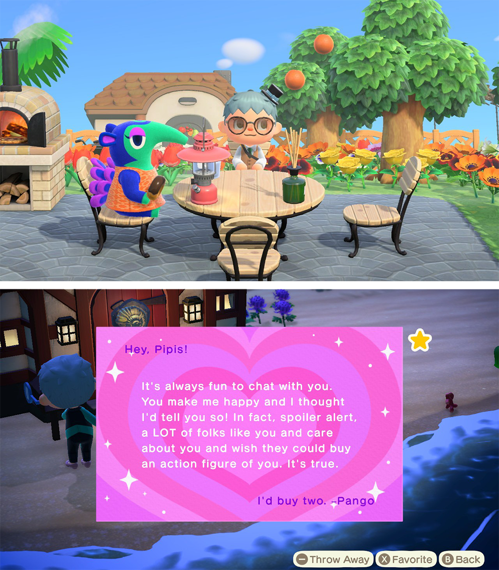 Two images, stacked vertically. In the first, the player character and Pango (a blue anteater with a green snout and pink eyeliner) sit at a cute table. The second shows a letter written to Pipis from Pango declaring that if they made action figures of Pipis, she'd buy two of them. Animal Crossing: New Horizons, Nintendo, 2020.