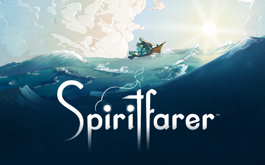 Spiritfarer art showing the logo against a background of a ship sailing on the sea.