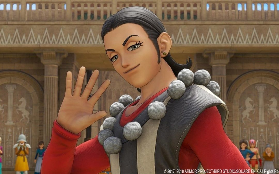 Sylvando, wearing his customary white/grey striped outfit with grey pom-poms on the collar and red sleeves, waves. Dragon Quest XI: Echoes of an Elusive Age, Square Enix, 2017.