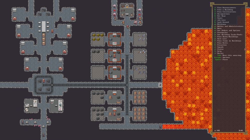 A series of interconnecting rooms featuring a mine track and forges adjacent fo a body of lava. Dwarf Fortress, Bay 12 Games, 2006.