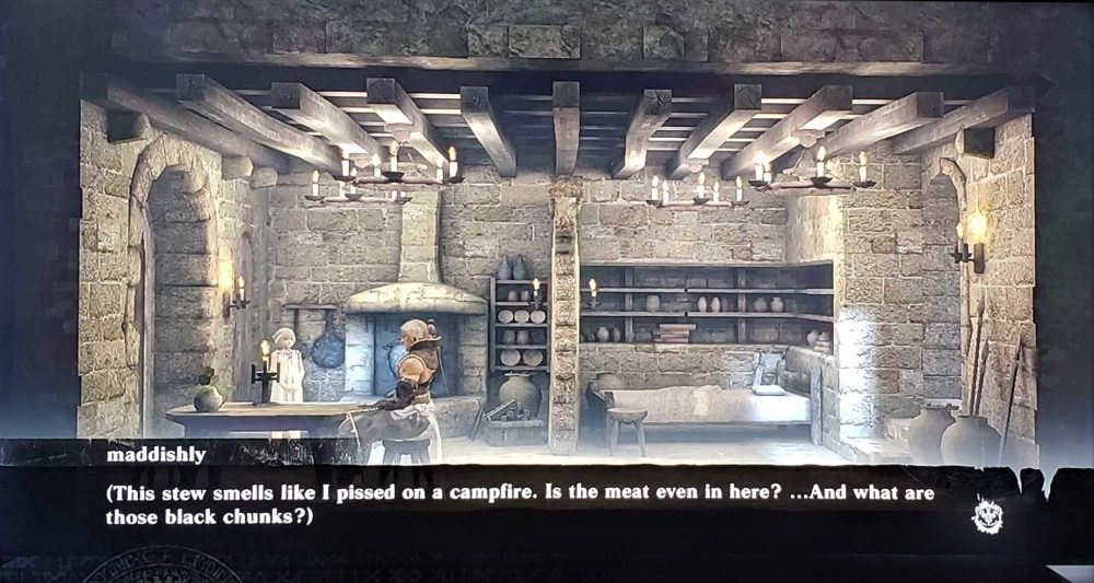 "Nier stands in his kitchen with his daughter/sister, Yonah, and thinks, ""This stew smells like I pissed on a campfire. Is the meat even in here? ... And what are those black chunks?"" The kitchen has stone walls and a sparse pantry. Nier, Cavia, Square Enix, 2010."