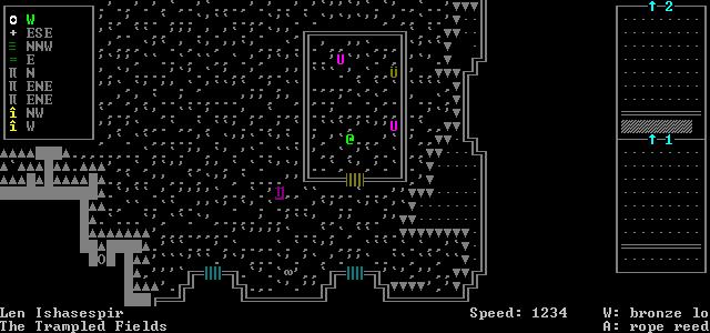 An ASCII interpration of a player receiving a quest. Dwarf Fortress, Bay 12 Games, 2006.