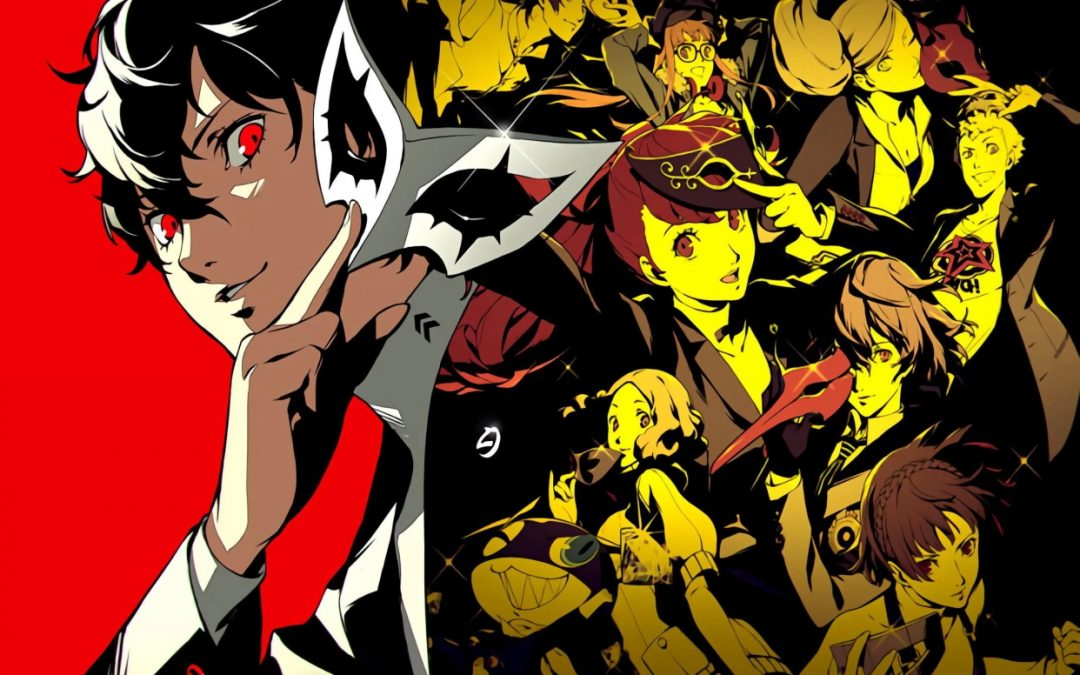 An image from Persona 5 Royal showing Joker with many other characters in a collage at the side.