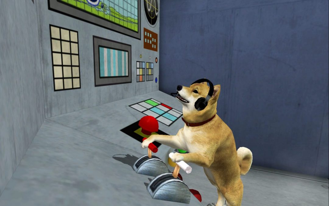 Mira, a dog from Silent Hill 2, operates various levers while wearing headphones.