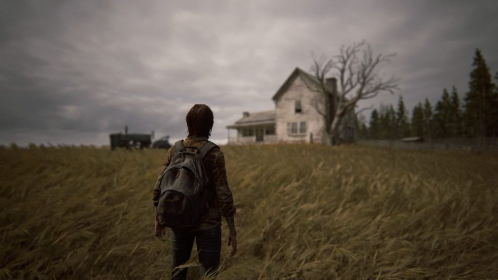 A screenshot from the end of The Last of Us Part II. Ellie faces away from the camera, looking over a field at a farmhouse. The sky is gray; the colors are muted.