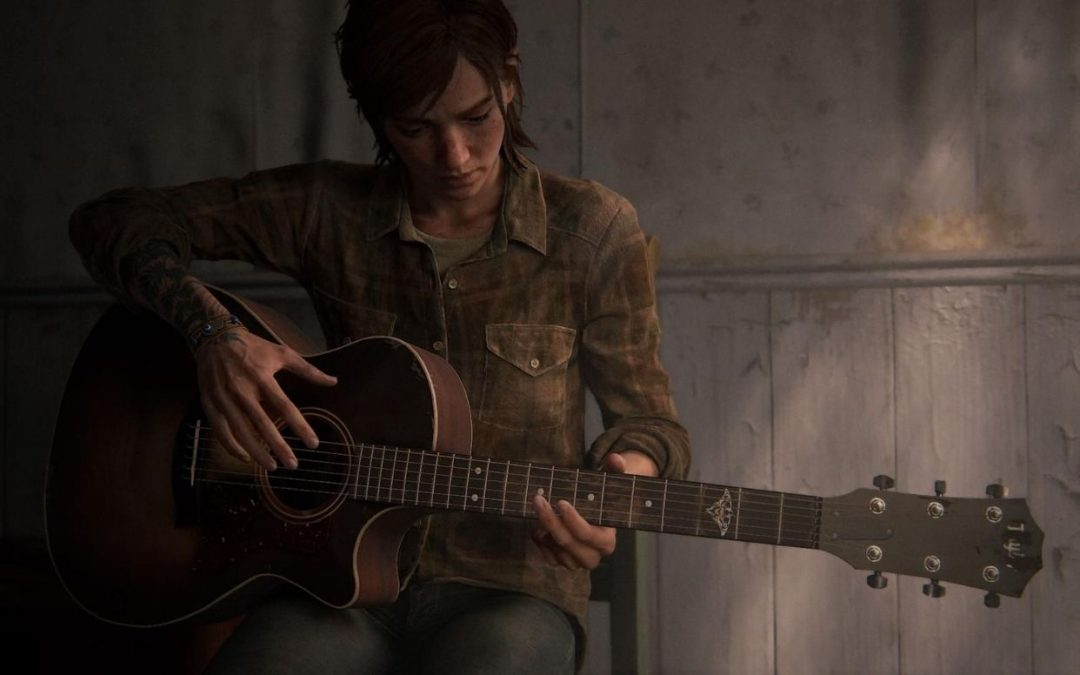 A screenshot of The Last of Us Part II showing Ellie strumming a guitar.