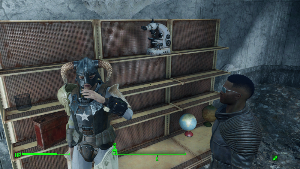 An image of the Sole Survivor next to empty shelves. Fallout 4, Bethesda, 2015.