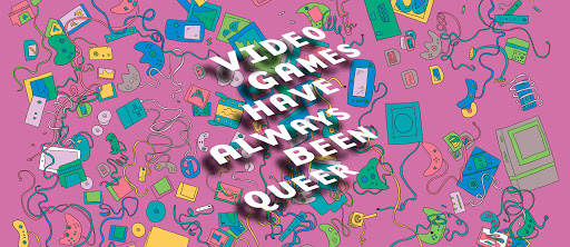 "An image of cartoon video game accessories and memoriabilia on a pink background. ""Video Games Have Always Been Queer"" is written in white across the items. A variation of this image is the cover of one of Ruberg's books."