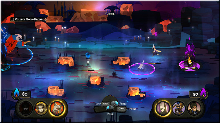 An image from a Rite in the game Pyre. Some being in a red cape looks like it might be casting a spell at a tiny being running across the screen. Looks like they're on ice, with orange rocks, and a campfire surrounded by a purple ring. Pyre, Supergiant Games, 2017. Image from guides.gamepressure.com