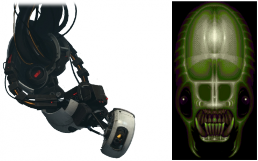 Images of the villainesses GLaDOS and the Vortex Queen.