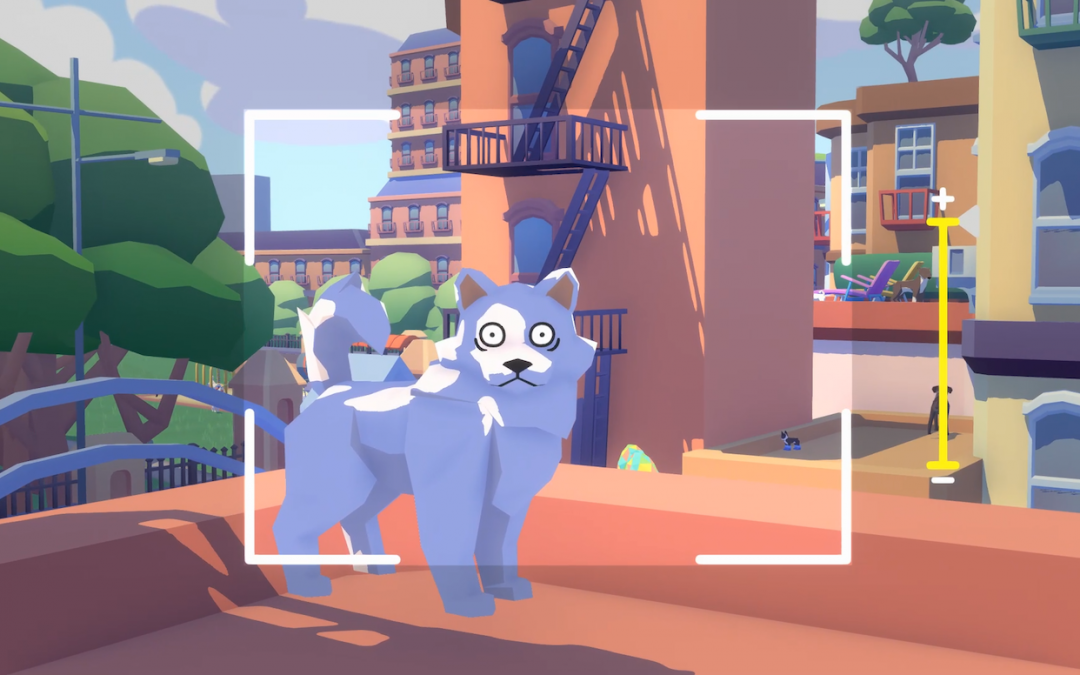 A frame, as if from a camera, shows a blueish cartoon dog with wide eyes stares at the camera with wide eyes. Behind it are apartment buildings and trees.