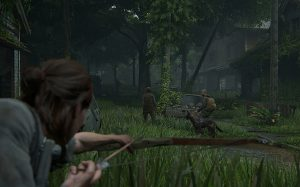 A screenshot of TLOU2. Ellie, in the foreground, trains a bow on a dog as it walks with its handler. Image courtesy of Naughty Dog. The Last of Us Part II, Naughty Dog, Sony Interactive Entertainment, 2020