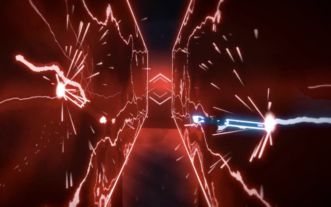 The red and blue light sabers from Beat Saber tear through the force walls, putting out interesting waves of energy