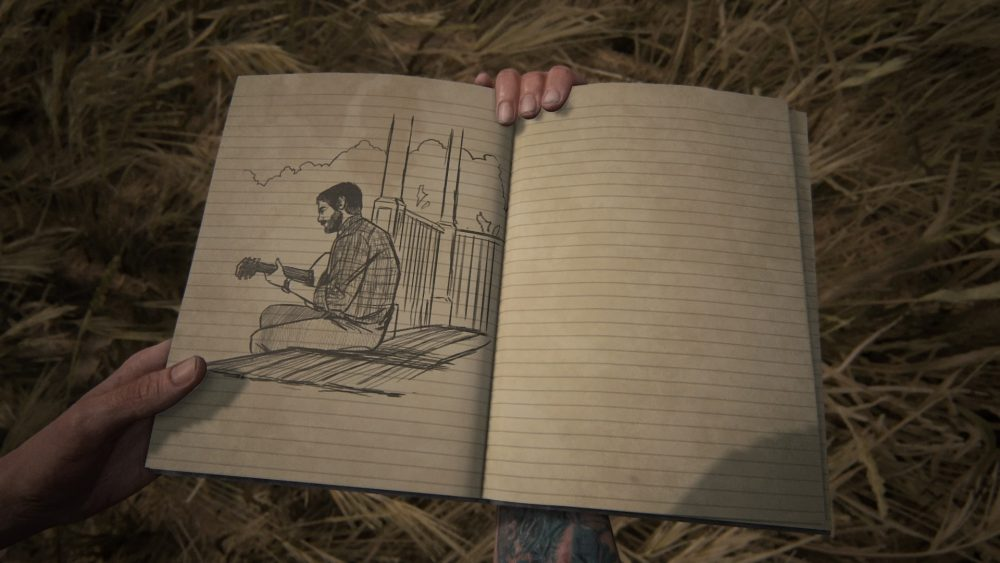 A screenshot of Ellie's journal in The Last of Us Part II, which shows a sketch of Joel playing the guitar.