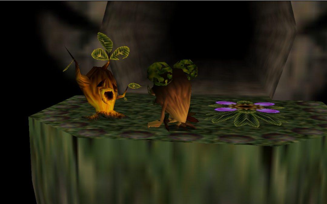 Screenshot from The Legend of Zelda: Majora's Mask with the Deku Butler kneeling in front of his son.