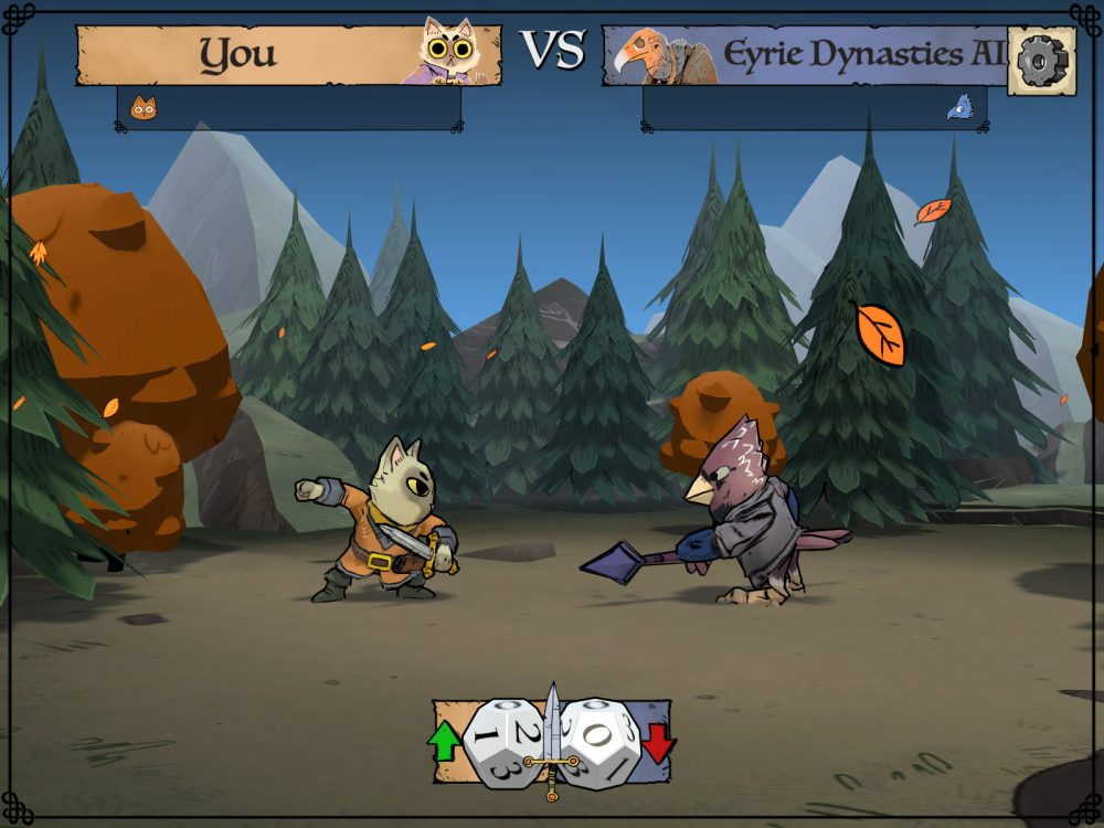 A combat scene in the digital adaptation of Root. An anthropomorphic cat stands guard on the left and an anthropomorphic bird stands on the right. There are dice at the bottom of the screen. Root, Leder Games, Dire Wolf Digital, 2020.