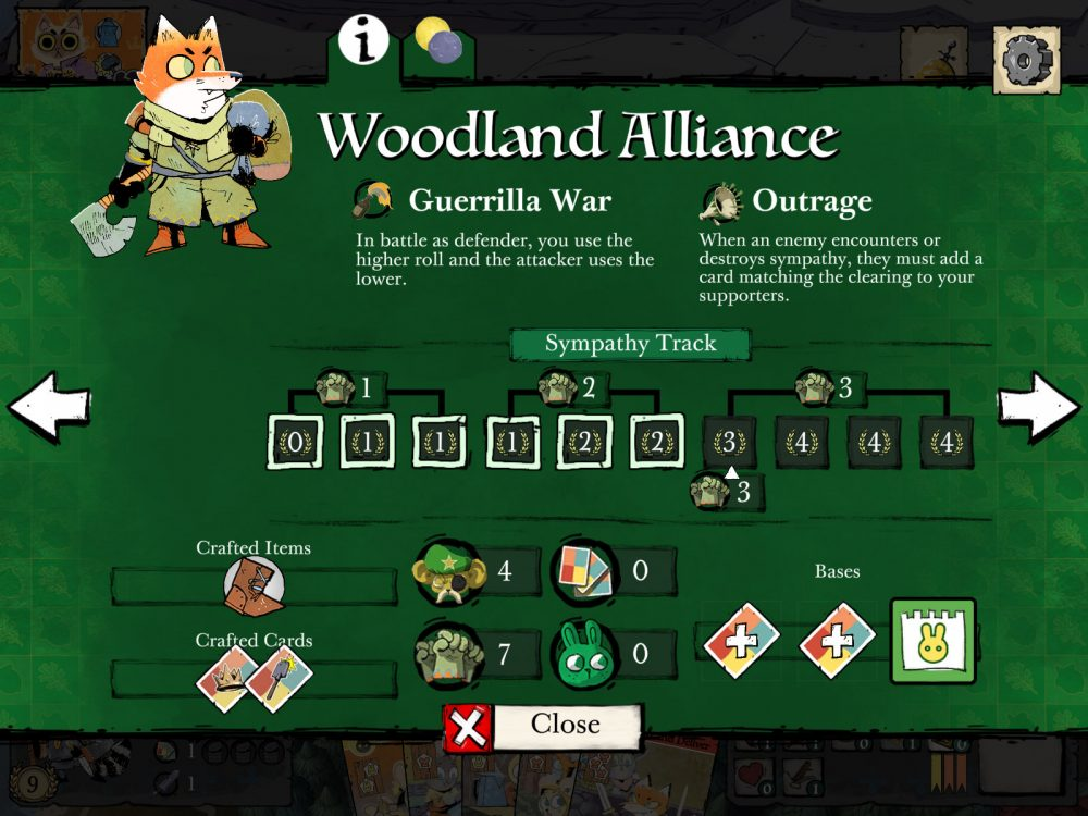 A reference card for the Woodland Alliance, containing information on their abilities and current progress in-game. Root, Leder Games, Dire Wolf Digital, 2020.