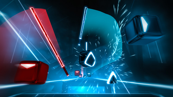 A screenshot of boxes being sliced in Beat Saber. Beat Saber, Beat Games, Hyperbolic Magnetism, 2018.