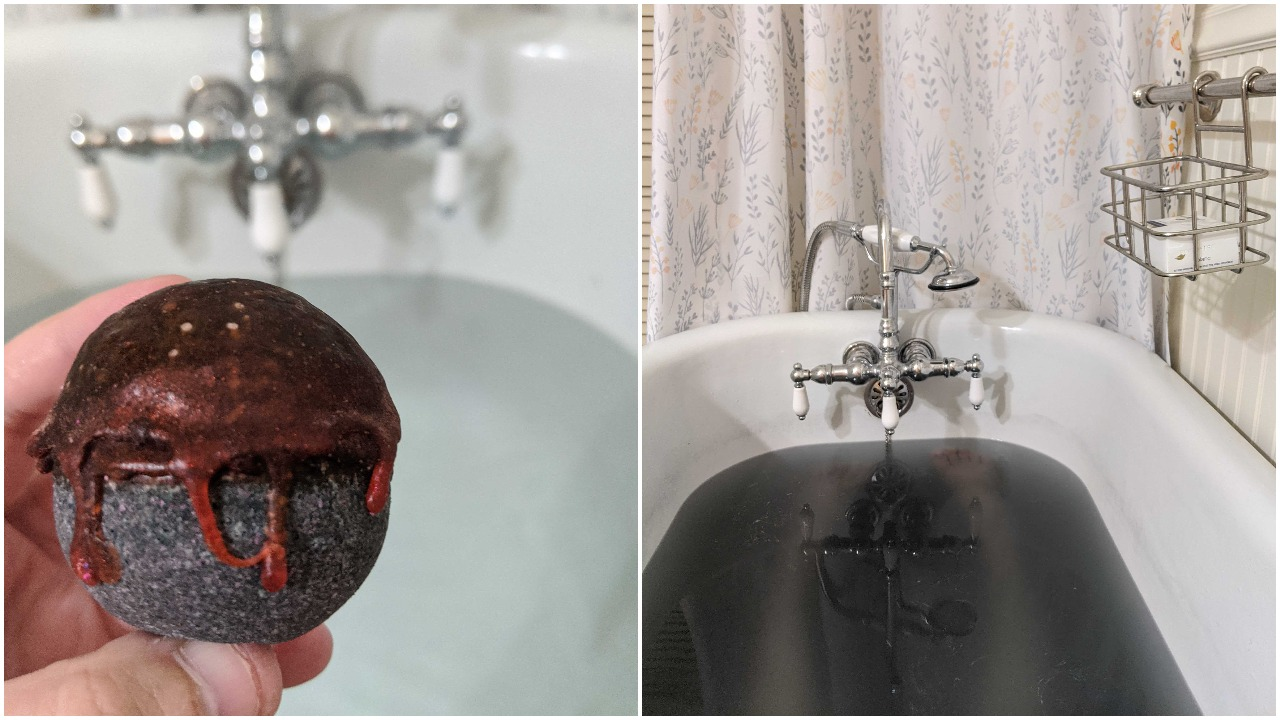 Two photos; a black bath bomb with a red glycerin dip; and a bathtub with black water and legs just visible underneath