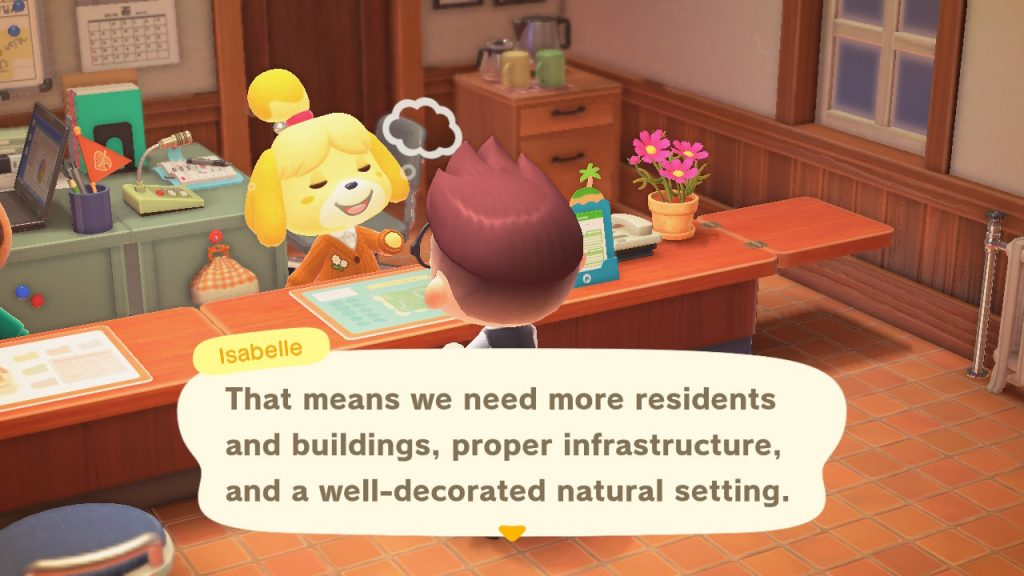 "A screenshot of Isabelle saying, ""That means we need more residents and buildings, proper infrastructure, and a well-decorated natural setting."""